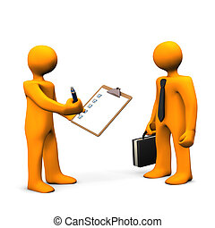 Employee Check - Orange cartoon characters with clipboard, ...