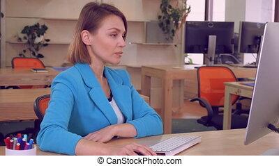 employee checking email reading bad news - upset...