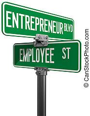 Employee Entrepreneur business decision sign - Change career...