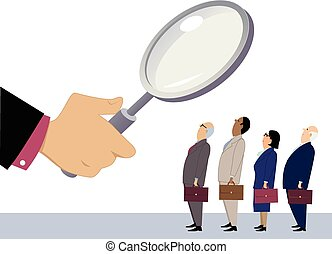 Employee evaluation - Business people standing in line under...