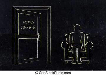 employee evaluation, man sitting next to Boss Office door