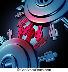 Employee friction in the work place as a symbol of teams of workers in disagreement not able to cooperate and results in a failed partnership and losing strategy using the icons of gears and cogs grinding together.