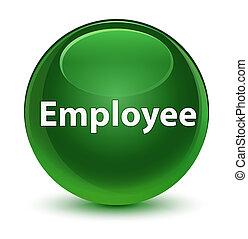 Employee glassy soft green round button