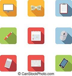 Employee icons set, flat style