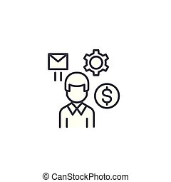 Employee linear icon concept. Employee line vector sign, symbol, illustration.