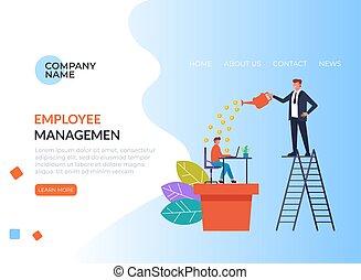 Employee management banner poster concept. Vector flat graphic design illustration