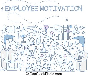 Employee motivation concept, success and achieving career goals, design element for banner, poster hand drawn vector Illustration