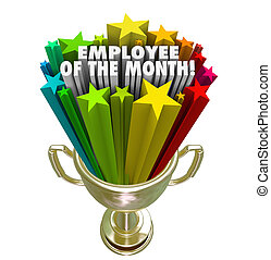Employee of the Month Gold Trophy Award Top Performer Recognitio
