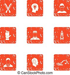 Employee of the month icons set, grunge style