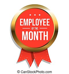 Employee of the month label or stamp with red ribbon