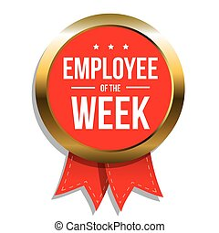 Employee of the week label or stamp with red ribbon