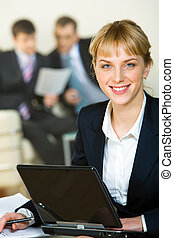 Employee - Portrait of beautiful employee on the background ...