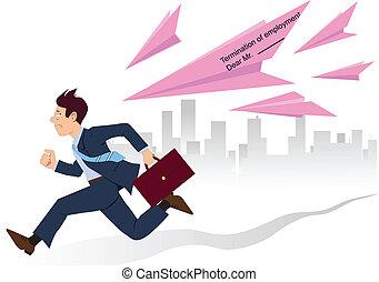 Employee running from pink slips