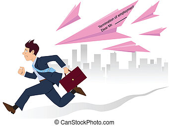 Employee running from pink slips - Stressed businessman...