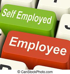 Employee Self Employed Keys Means Choose Career Job Choice -...
