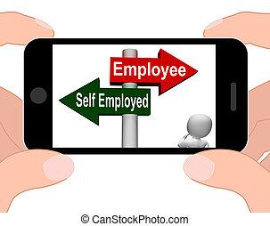 Employee Self Employed Signpost Displays Choose Career Job Choic