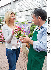 Employee talking to customer about plant