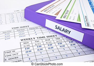 Employee time sheet and salary binder for human resources