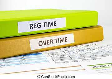 Employee time sheets - Regular time and Over time words on ...