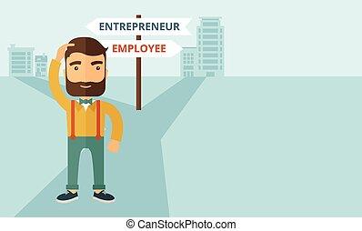 Employee to entrepreneur - A hipster Caucasian man change ...