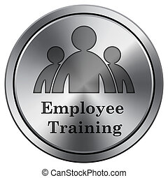 Employee training icon. Round icon imitating metal.