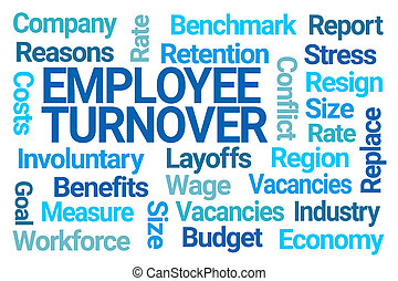 Employee Turnover Word Cloud on White Background