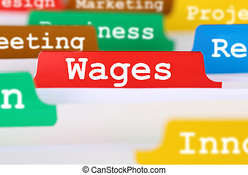 Employee wages financial business concept register in documents