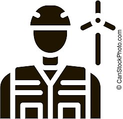 employee with protection wind energy technicians icon vector illustration
