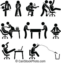 A set of pictogram representing employee having fun at workplace.
