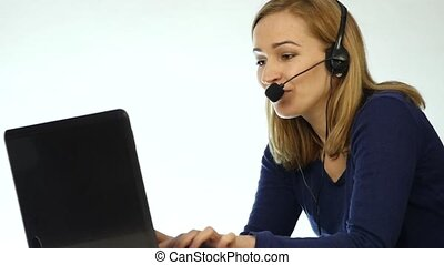 employee working in a call center. Headset telemarketing...