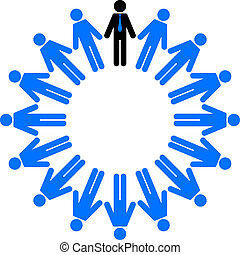 employees and manager in circle - Vector illustration of...