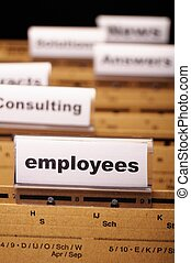 employees - employess word on business office folder...
