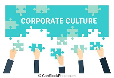Employees holding and connecting puzzle pieces together. Corporate Culture and Teamwork Vector illustration n flat style.