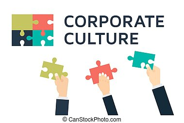 Employees holding and connecting puzzle pieces together. Teamwork and Corporate Culture vector concept in flat style.