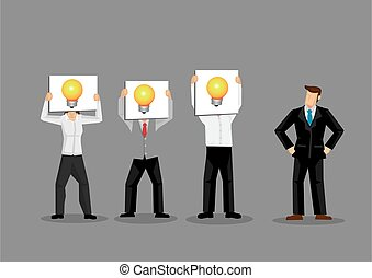 Employees Holding Light Bulb Cards in Front of Faces Cartoon Vector Illustration
