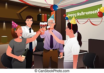 Employees in the office celebrating a happy retirement party...