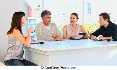 Employees planning something on a table