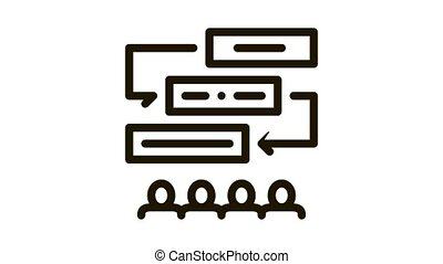 Employees Planning Work Icon Animation. black Employees Learning Sequence Of Communication animated icon on white background