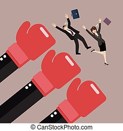 Employees punched by boss big hands