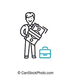 Employees' salary vector thin line stroke icon. Employees' salary outline illustration, linear sign, symbol concept.