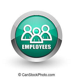 Employees silver metallic chrome web design green round internet icon with shadow on white background.