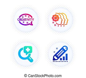 Employees teamwork, Creativity and Medical analyzes icons set. Edit statistics sign. Vector