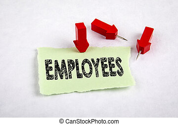 EMPLOYEES. Unemployment, benefits, insurance and trade union comcept. Red arrows on a white background