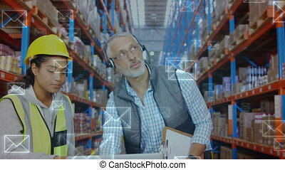 Employees working at a warehouse