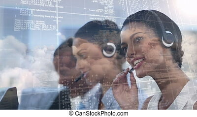 Employees working at call centre with code