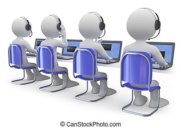 Employees working in a call center. They have headphones and microphone. Rendered on a white background with diffuse shadows.