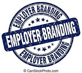 employer branding blue grunge stamp