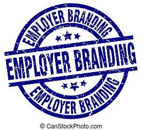 employer branding blue round grunge stamp