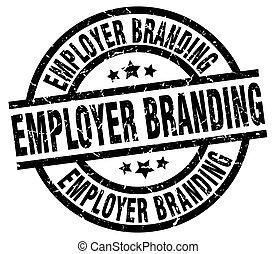 employer branding round grunge black stamp