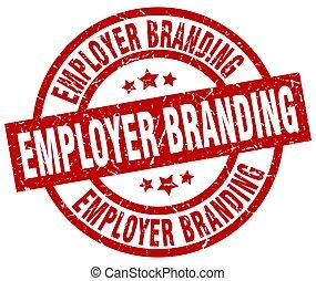 employer branding round red grunge stamp